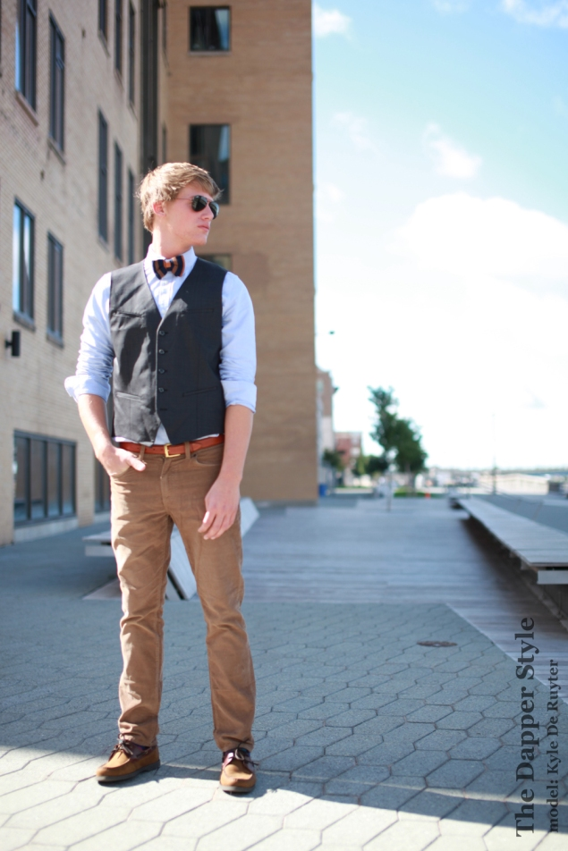 men's vest with bow tie