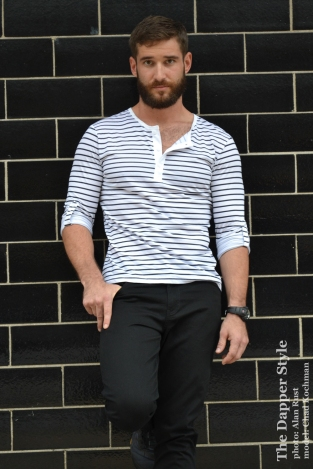 chad-black and white stripe henley